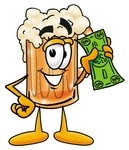 Royalty-free cartoon styled beverage clip art graphic of a frothy mug of beer or soda cartoon character