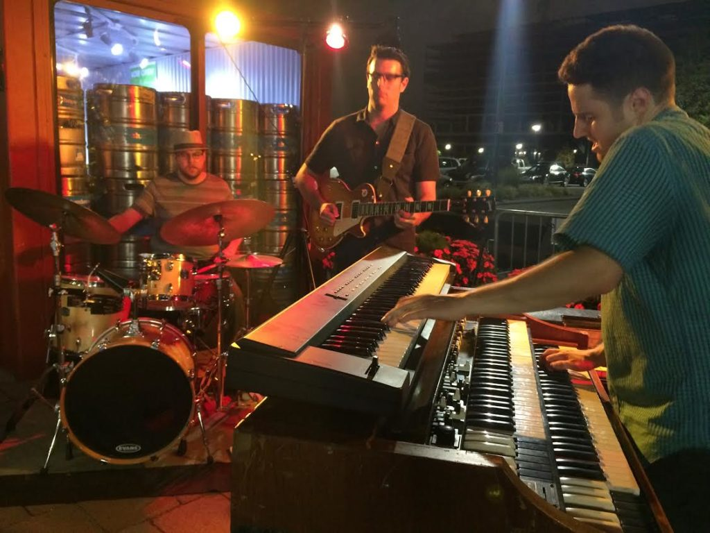 live music at Slumbrew's American Fresh Beer Garden at Assembly Row in Somerville