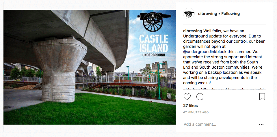 Castle Island Brewing beer garden at Underground InkBlock