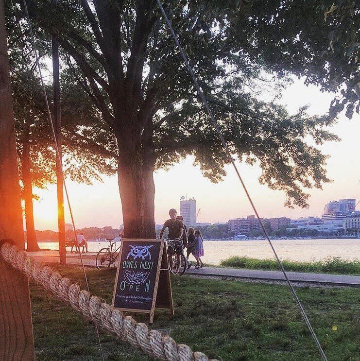 Night Shift Owl's Nest beer gardens on the Charles River bike path
