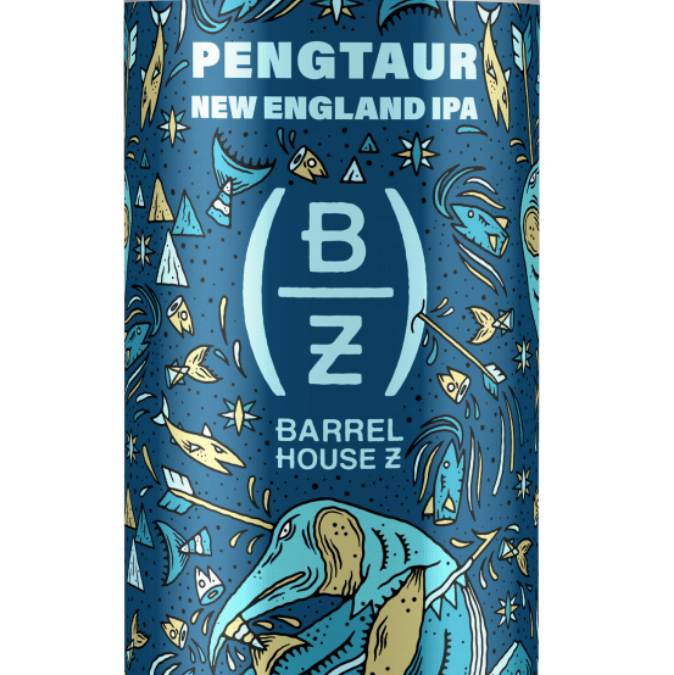 Barrel House Z's Mythical Creatures Series, Release No. 1:  Half-Penguin. Half-Centaur. All New England IPA.