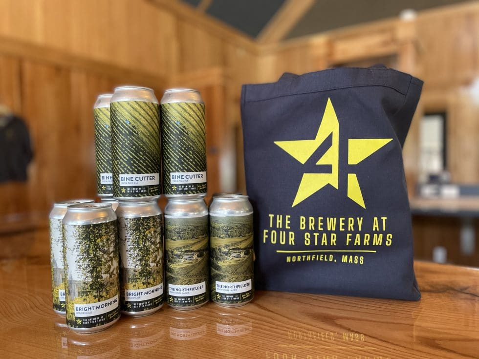 Reusable bag and cans Brewery at Four Star Farms