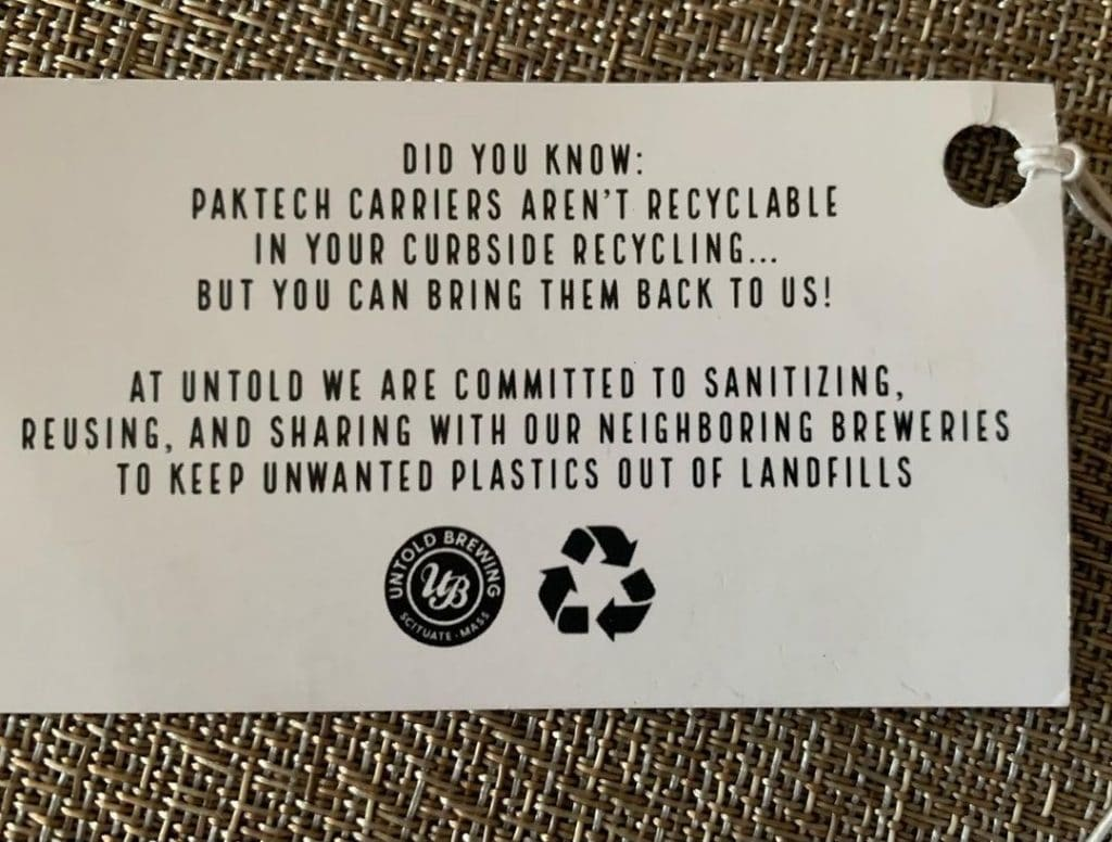 Untold Brewing PakTech reuse and recycling program