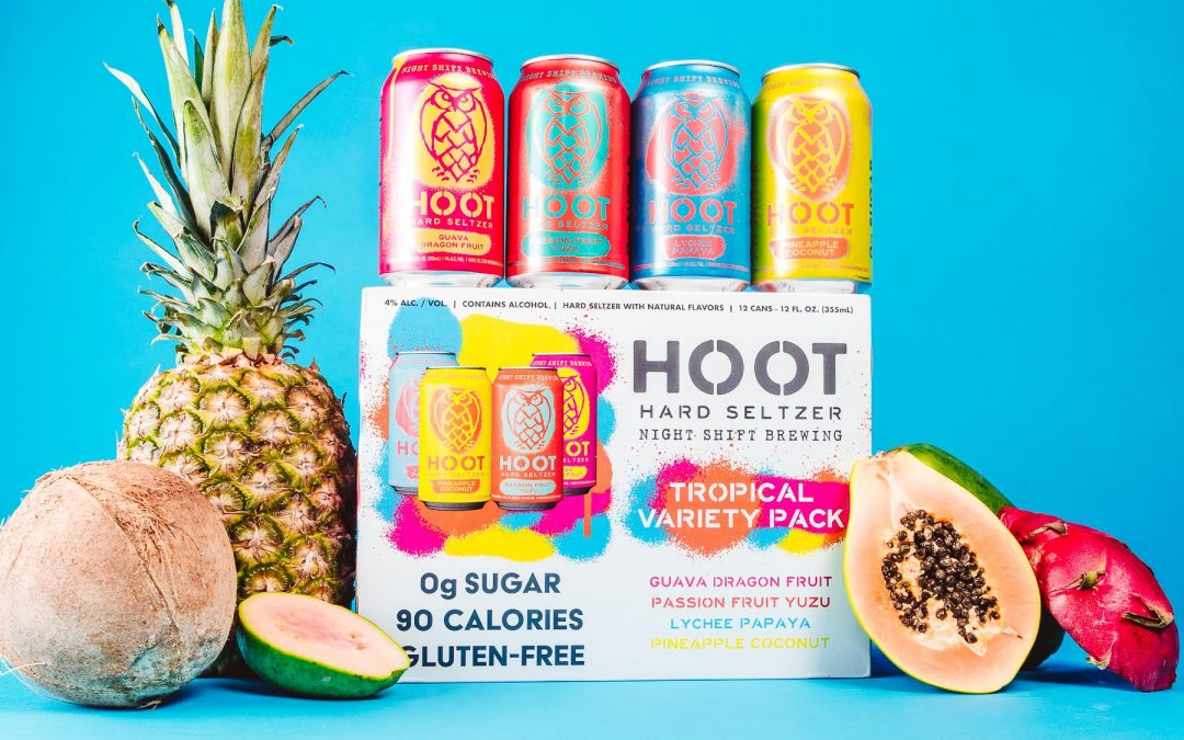 Night Shift Brewing Releases New Hoot Tropical Punch Hard Seltzer And Hoot Louder Berry Blast Harder Seltzer